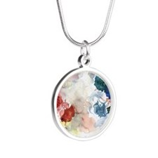 Watercolor Tutus Silver Round Necklace