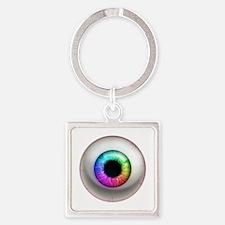 16x16_theeye_rainbow Square Keychain