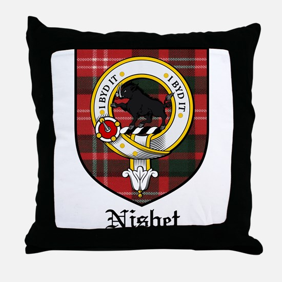 Nisbet Clan Crest Tartan Throw Pillow