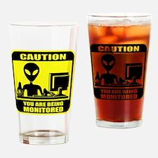 Caution_Alien Drinking Glass