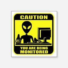 "Caution_Alien Square Sticker 3"" x 3"""