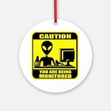 Caution_Alien Round Ornament
