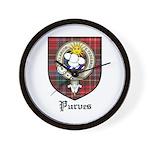 Purves Clan Crest Tartan Wall Clock