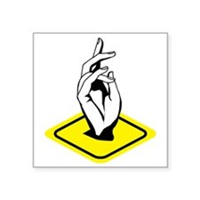 "Hand sign Square Sticker 3"" x 3"""