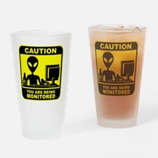 Caution! you are being monitored Drinking Glass