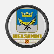 Helsinki COA (Flag 10) Large Wall Clock