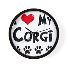 I-Love-My-Corgi Wall Clock