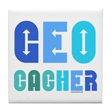 Geocacher Arrows Blue Tile Coaster
