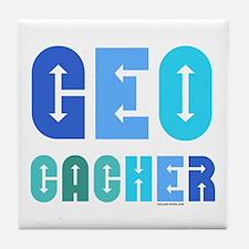 Geocacher Arrows Blue Tile Coaster