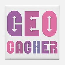 Geocacher Arrows in Pinks Tile Coaster