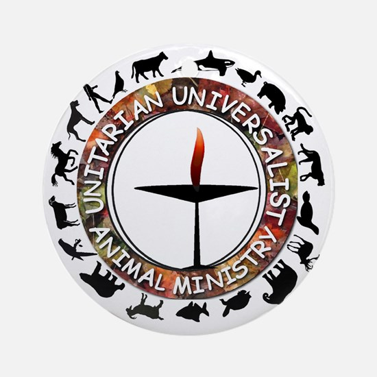 UUAM LOGO - 3x3 with animals png Round Ornament