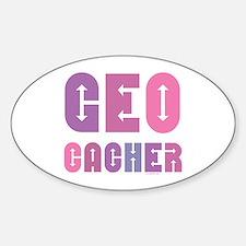 Geocacher Arrows Pinks Oval Decal