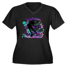 skaterspin Women's Plus Size Dark V-Neck T-Shirt