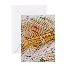 Hand Knitting with Cotton Tweed Greeting Card