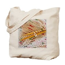 Hand Knitting with Cotton Tweed Tote Bag