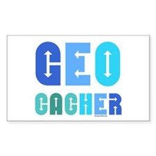 Geocacher Arrows Blue Rectangle Decal