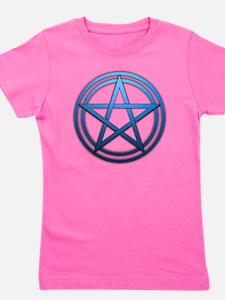 Blue Metal Pagan Pentacle Girl's Tee