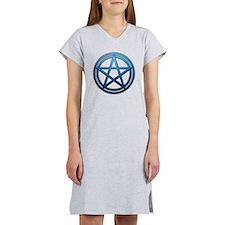 Blue Metal Pagan Pentacle Women's Nightshirt