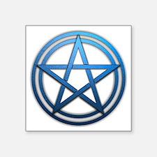 "Blue Metal Pagan Pentacle Square Sticker 3"" x 3"""