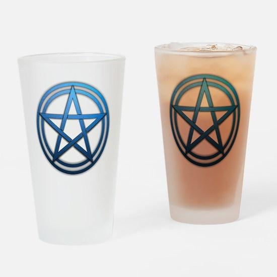 Blue Metal Pagan Pentacle Drinking Glass