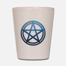 Blue Metal Pagan Pentacle Shot Glass