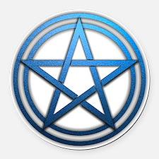 Blue Metal Pagan Pentacle Round Car Magnet