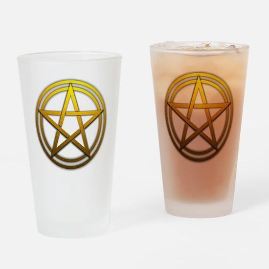 Gold Metal Pagan Pentacle Drinking Glass