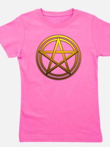 Gold Metal Pagan Pentacle Girl's Tee