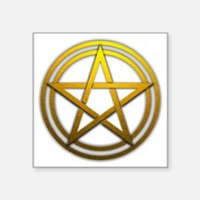 "Gold Metal Pagan Pentacle Square Sticker 3"" x 3"""