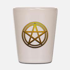 Gold Metal Pagan Pentacle Shot Glass