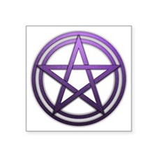 "Purple Metal Pagan Pentacle Square Sticker 3"" x 3"""