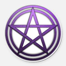 Purple Metal Pagan Pentacle Round Car Magnet