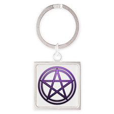 Purple Metal Pagan Pentacle Square Keychain