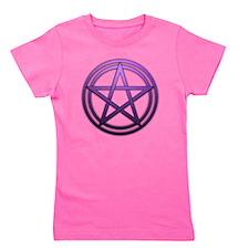 Purple Metal Pagan Pentacle Girl's Tee