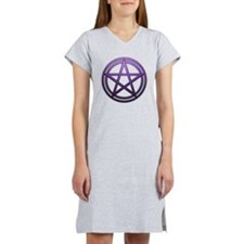 Purple Metal Pagan Pentacle Women's Nightshirt