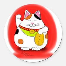 Good Luck Maneki Neko Round Car Magnet