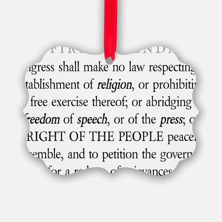 First-Amendment-(white-shirt) Ornament