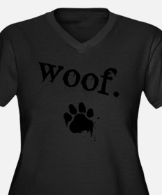 Woof Design Women's Plus Size Dark V-Neck T-Shirt