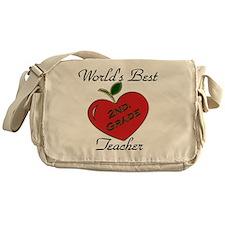 Worlds Best Teacher Apple 2nd.  Messenger Bag
