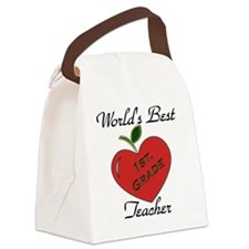 Worlds Best Teacher Apple 1 Canvas Lunch Bag