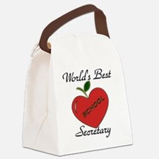 Worlds Best Teacher Apple secreta Canvas Lunch Bag