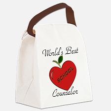 Worlds Best Teacher Apple counsel Canvas Lunch Bag