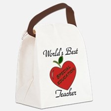 Worlds Best Teacher Apple special Canvas Lunch Bag