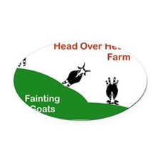 Head Over Heels Farm Fainting Goat Oval Car Magnet