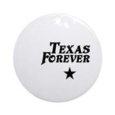 state-texas-forever-star-white-blac Round Ornament