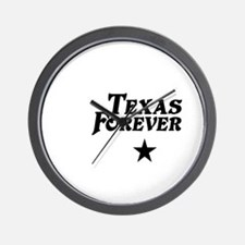 state-texas-forever-star-white-black Wall Clock