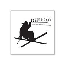 "Ski Jackson Hole Square Sticker 3"" x 3"""