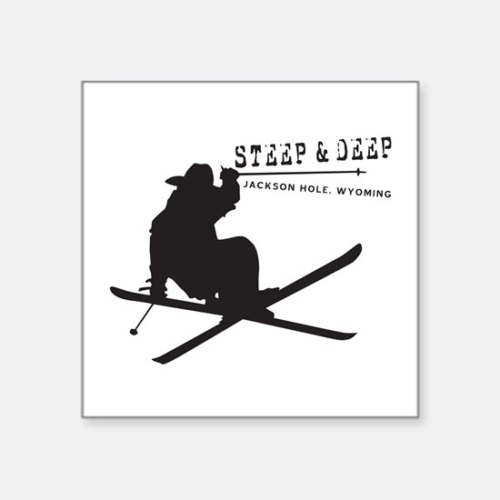 "Ski Jackson Hole Square Sticker 3"" x 3"""