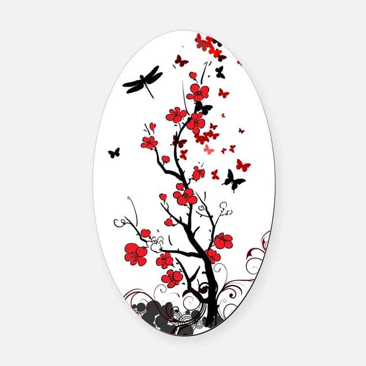 Black and Red Flowers Oval Car Magnet