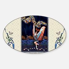 Laptop-ArtDecoButterfly-Lady-Dancer Sticker (Oval)